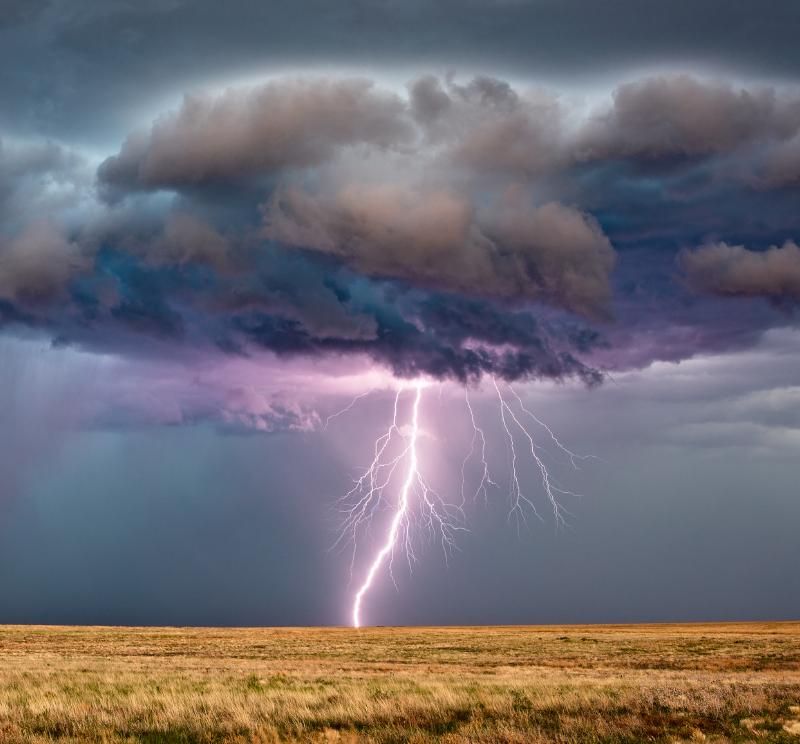 Lightning striking ground during severe thunderstorm