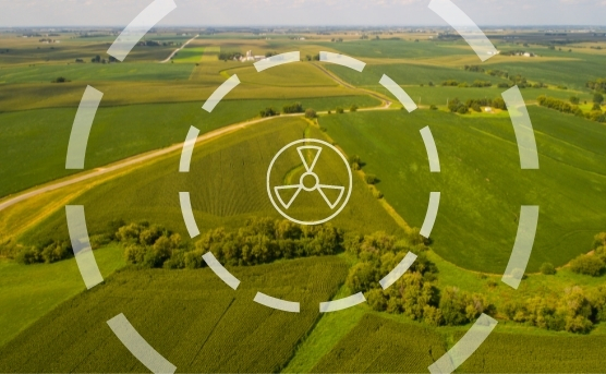 Rural Iowa with circles mimicking emergency planning zones