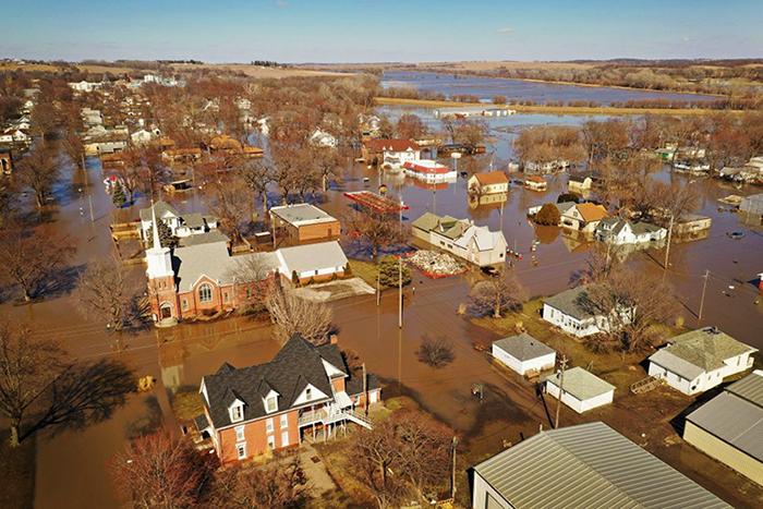 Flooding in Hamburg, Iowa