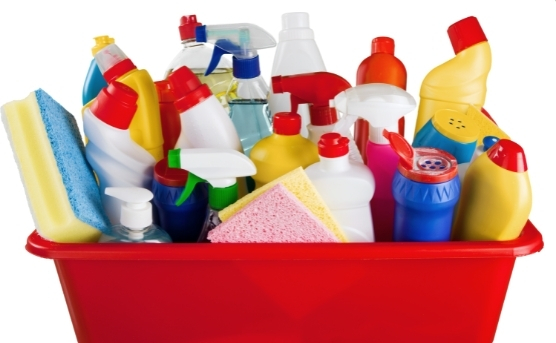 Cleaning products in a red bucket