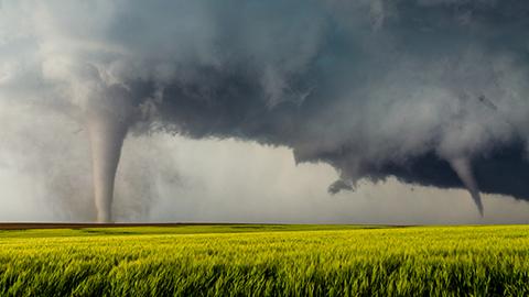 Tornadoes touching down in field