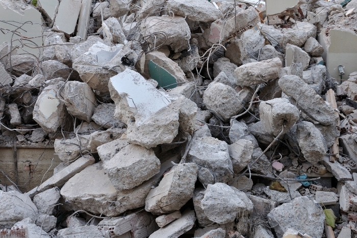 Pile of rocks due to earthquake damage