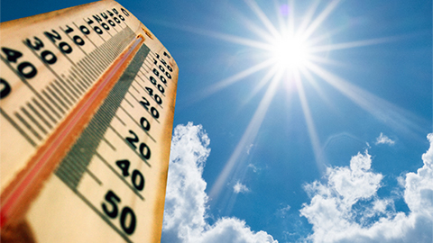 Thermometer topping out at 100 degrees as sun beams down