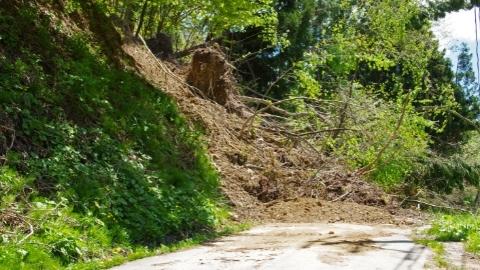 Landslide over road