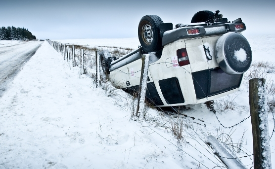 Snowy road with car flipped over on the side of the road