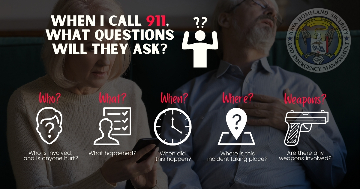 Graphic for Questions a 911 Operator Asks, Who? What? When? Where? Weapons?
