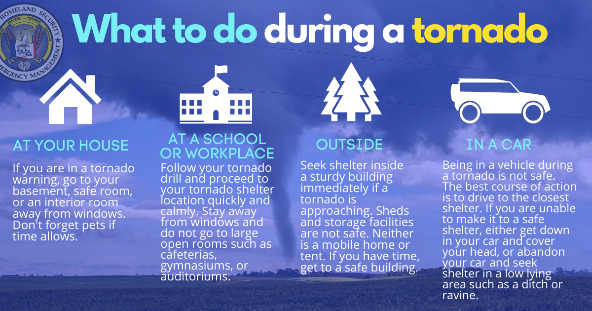 What to do during a tornado graphic