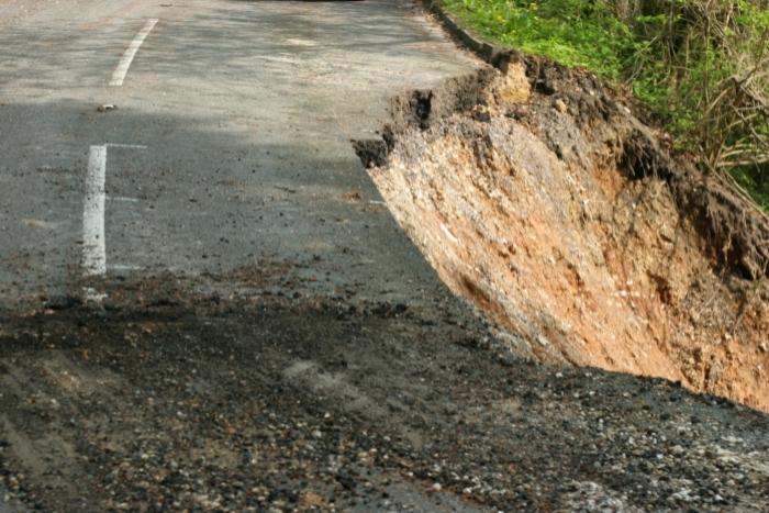 Landslide causes road to break away